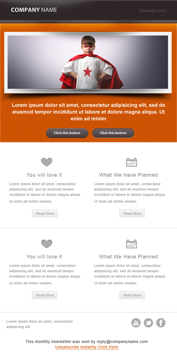 email ornage template Awesome Email Newsletter PSD