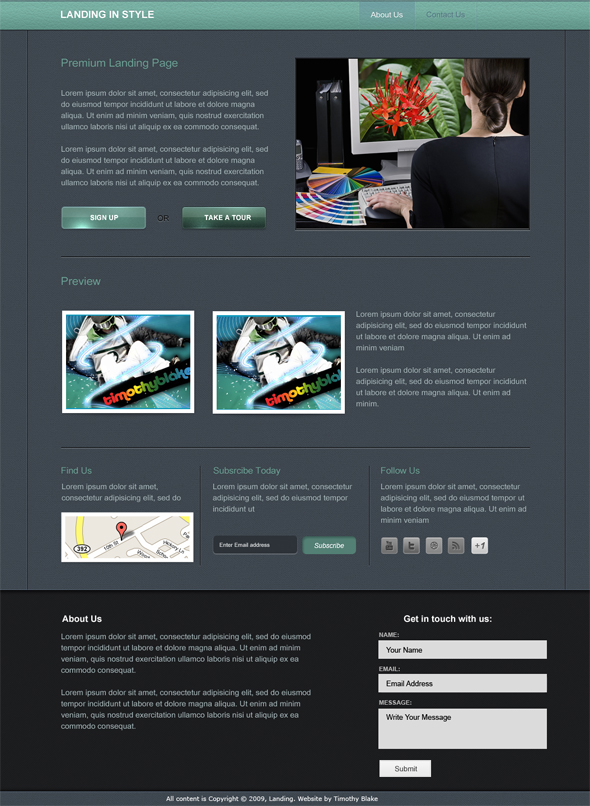 landing above small preview Landing In Style PSD Web Template