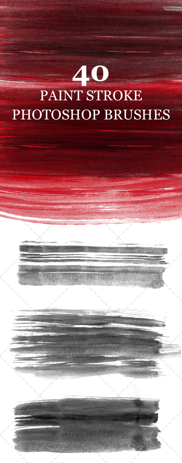paint strokes brush set preview 40 Paint Strokes Photoshop Brush Set